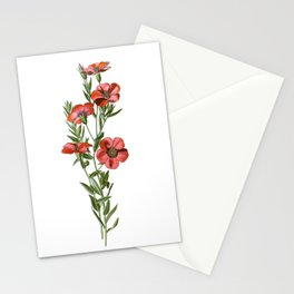 Red Flax Flower Bouquet Stationery Cards