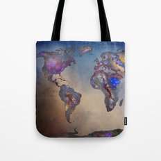 Stars world map. Blue Tote Bag