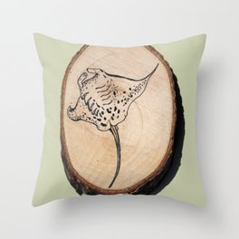 Devil Ray Wood Slice 2 Throw Pillow