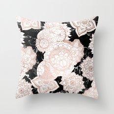 Modern rose gold floral mandala chic marble Throw Pillow