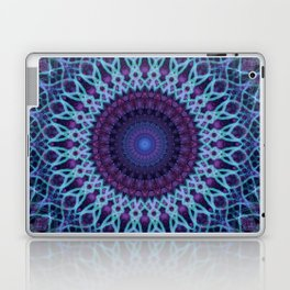 Mandala in dark and light blue tones Laptop & iPad Skin