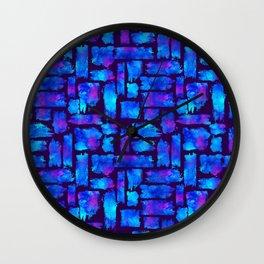 Blue watercolor brush Wall Clock