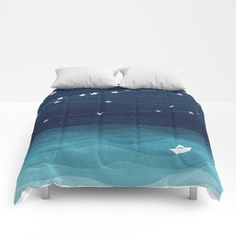 Garlands of stars, watercolor teal ocean Comforters