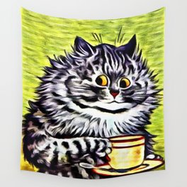 "Louis Wain's Cats ""Kitty On Coffee Break"" Wall Tapestry"