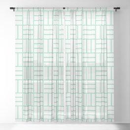 Basketweave (Mint & White Pattern) Sheer Curtain