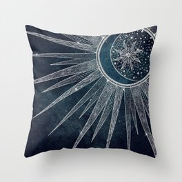Elegant Silver Sun Moon Doodle Mandala Blue Design Throw Pillow