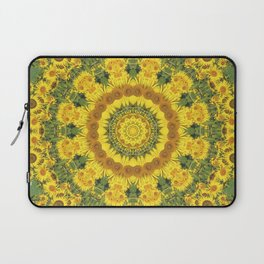 Sunflowers, Floral mandala-style, Flower Mandala Laptop Sleeve