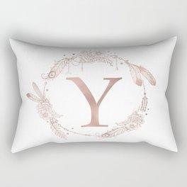 Letter Y Rose Gold Pink Initial Monogram Rectangular Pillow