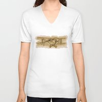 airplane V-neck T-shirts featuring Airplane by LaDa