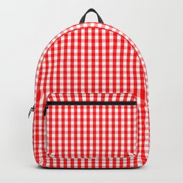 Small Snow White and Christmas Red Gingham Check Plaid Backpack