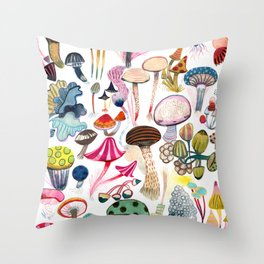 Mushroom Collection - b r i g h t s Throw Pillow