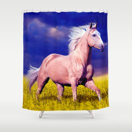 Beautiful Horse Galloping Across Meadow Ultra HD Shower Curtain