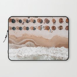 People On Beach, Aerial Drone Photography, Summer Vibes Photography, Ocean Wall Art Print, Sea Art Laptop Sleeve