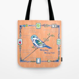 Sparrow Mahjong in Orange Tote Bag
