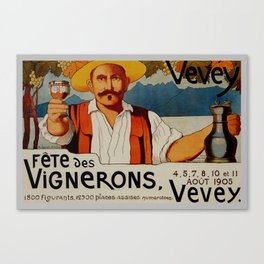 Vintage 1905 Vevey Winegrowers Festival Print Canvas Print