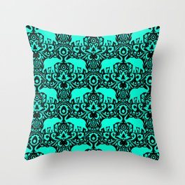 Elephant Damask Mint and Black Throw Pillow