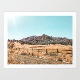 Flations Boulder // Colorado Mountain Landscape Fresh Snow Autumn Fence Teal Sky Art Print