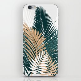 Gold and Green Palm Leaves iPhone Skin