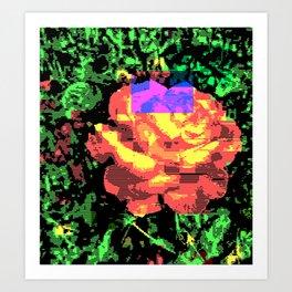 Digital Rose Against Vibrant Green Leaves Art Print