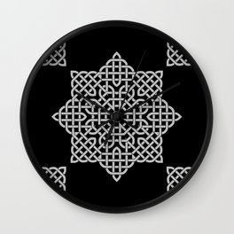Black and White Celtic Star Wall Clock