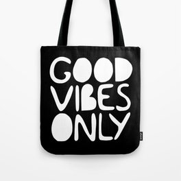 GOOD VIBES ONLY (black) - Handlettered typography Tote Bag