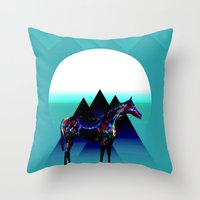 pony Throw Pillows featuring Painted Pony by Laura Santeler
