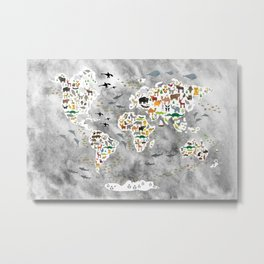 Cartoon animal world map, back to school. Animals from all over the world, gray watercolor  Metal Print
