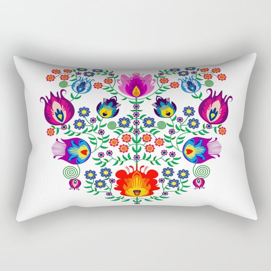 Folk Pattern - Flower Rectangular Pillow