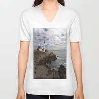 maine V-neck T-shirts featuring Maine Splendor by Catherine1970