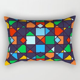 Bright, Bold & Colorful Geometric Architectural Design Pattern Rectangular Pillow