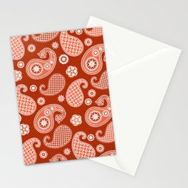 Paisley Pattern, Mandarin and Coral Orange Stationery Cards