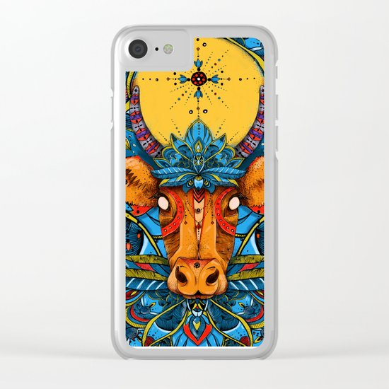 Holy Cow! Blue Lotus Mandala. Clear iPhone Case