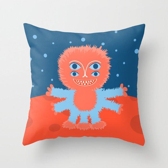 Focussian Furry Alien Throw Pillow