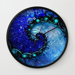 Beautiful Blue Nocturne of Scorpio Sapphire Spiral Wall Clock