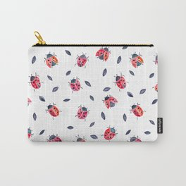 Lucky Ladybugs & Black Leaves Carry-All Pouch