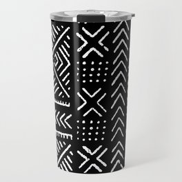 Line Mud Cloth // Black Travel Mug