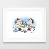 charlie brown Framed Art Prints featuring A Supernatural Charlie Brown Christmas by maichan