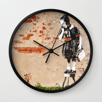 banksy Wall Clocks featuring Banksy - Girl on Stool by Brandon Funkhouser