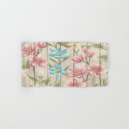 Faux Wood Country Floral Hand & Bath Towel