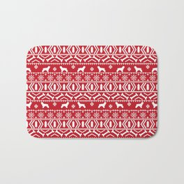 Cocker Spaniel fair isle christmas pattern dog breed holiday gifts red and white Bath Mat