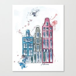 Whimsical Amsterdam Watercolor Canvas Print