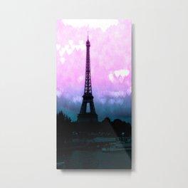 Paris Eiffel Tower : Lavender Teal Metal Print