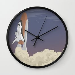 blast off launch pad Shuttle flies into space Wall Clock