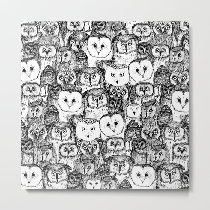 just owls black white Metal Print