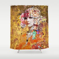 rose gold Shower Curtains featuring Rose. Gold by Steve W Schwartz Art