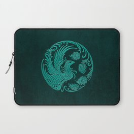 Traditional Teal Blue Chinese Phoenix Circle Laptop Sleeve