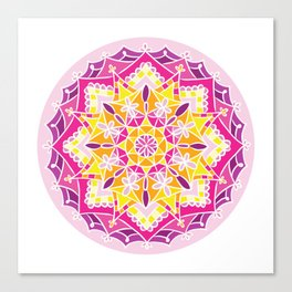Mosaic Sunset Mandala Canvas Print