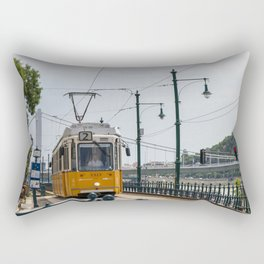 Yellow Budapest Tram Photography Rectangular Pillow