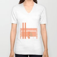 cigarette V-neck T-shirts featuring Cigarette Factory by Peter Cassidy
