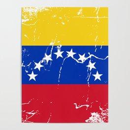 Venezuela flag design with grunge effect Poster